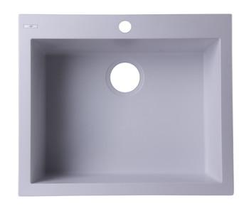 """ALFI brand AB2420DI-W White 24"""" Drop-In Single Bowl Granite Composite Kitchen Sink"""