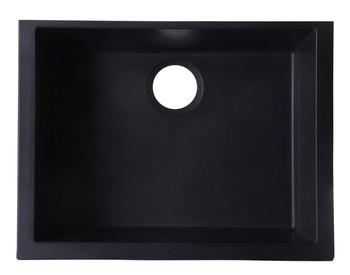 "ALFI brand AB2420UM-BLA Black 24"" Undermount Single Bowl Granite Composite Kitchen Sink"