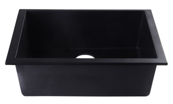 "ALFI brand AB2420UM-BLA Black 24"" Undermount Single Bowl Granite Composite Kitchen Sink"