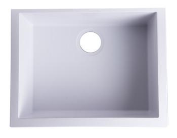 "ALFI brand AB2420UM-W White 24"" Undermount Single Bowl Granite Composite Kitchen Sink"