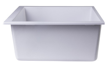 "ALFI brand AB2420UM-W White 24"" Undermount Single Bowl Granite Composite Kitchen Sink"