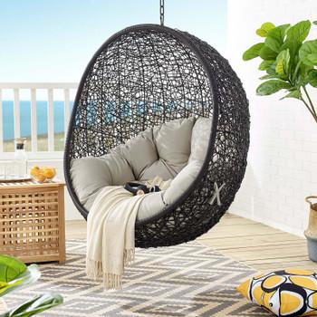 Encase Swing Outdoor Patio Lounge Chair EEI-739-BEI-SET Beige
