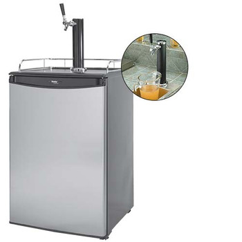 Cal Flame 20-Inch Beer Tap Refrigerator / Kegerator - Stainless Steel Door With Black Top - BBQ09843B