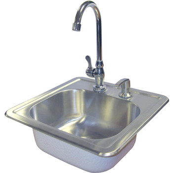 Cal Flame15 X 15 Outdoor Rated Stainless Steel Sink W/ Cold Water Faucet & Soap Dispenser - BBQ11963