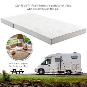 Relax 39 x 75 x 4 (Twin) Tri-Fold Mattress Topper MOD-5782-WHI