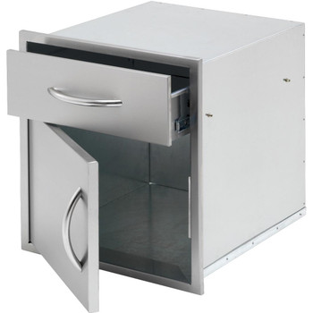Cal Flame 18-Inch Door & Drawer Combo Enclosed Cabinet Storage - BBQ11840P-18