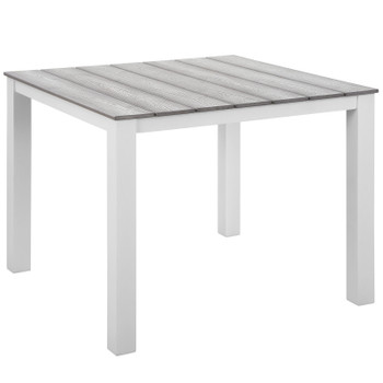 """Maine 40"""" Outdoor Patio Dining Table EEI-1507-WHI-LGR White Light Gray"""