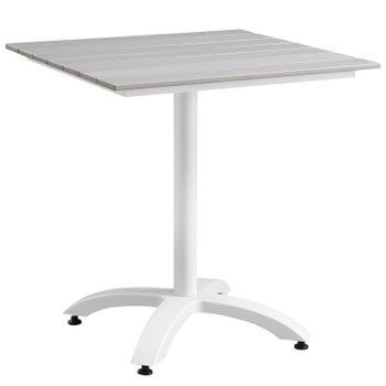 """Maine 28"""" Outdoor Patio Dining Table EEI-1514-WHI-LGR White Light Gray"""