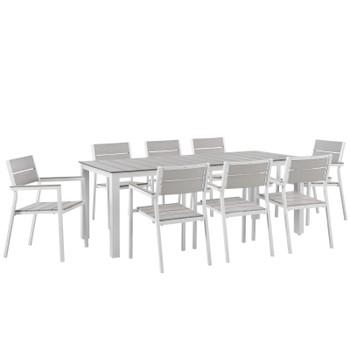 Maine 9 Piece Outdoor Patio Dining Set EEI-1753-WHI-LGR-SET White Light Gray