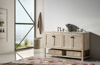 """Legion Furniture WH5160 60"""" SOLID WOOD SINK VANITY WITH MARBLE TOP-NO FAUCET"""