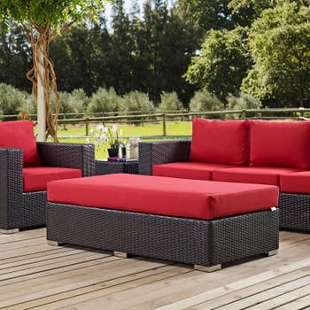 Convene Outdoor Patio Fabric Rectangle Ottoman EEI-1847-EXP-RED Espresso Red