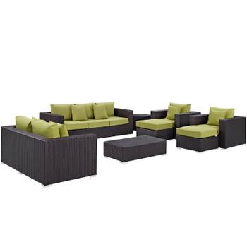 Convene 9 Piece Outdoor Patio Sofa Set EEI-2161-EXP-PER-SET Espresso Peridot
