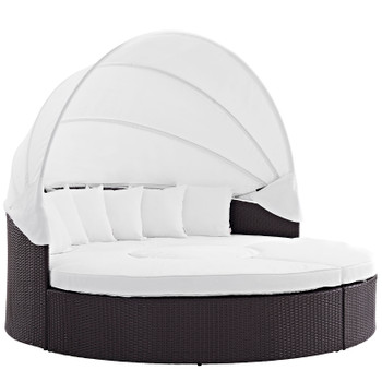 Convene Canopy Outdoor Patio Daybed EEI-2173-EXP-WHI-SET Espresso White