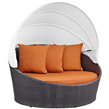 Convene Canopy Outdoor Patio Daybed EEI-2175-EXP-ORA Espresso Orange