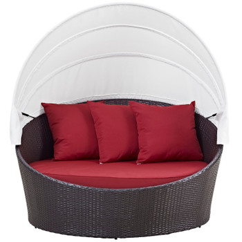 Convene Canopy Outdoor Patio Daybed EEI-2175-EXP-RED Espresso Red