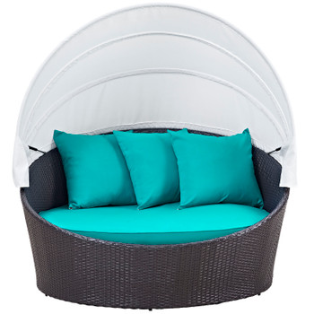Convene Canopy Outdoor Patio Daybed EEI-2175-EXP-TRQ Espresso Turquoise