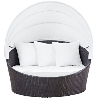 Convene Canopy Outdoor Patio Daybed EEI-2175-EXP-WHI Espresso White