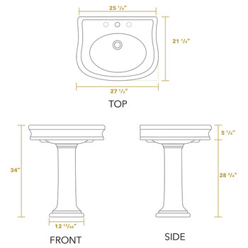 White Haus LA10-LA03-1H China Series traditional pedestal with integrated oval bowl, decorative trim and rear overflow-1 Hole