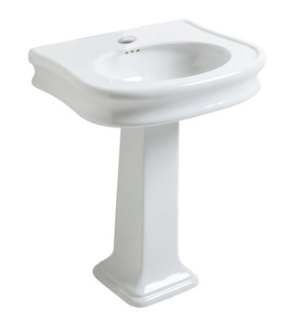 White Haus LA10-LA03-3H China Series traditional pedestal with integrated oval bowl, decorative trim and rear overflow=3 Holes