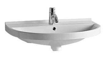 White Haus LU014-1H China Series u-shaped wall mount basin with chrome overflow and rear center drain-Single Hole
