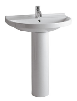 White Haus LU014-LU005-3H China Series tubular pedestal with u-shaped basin and chrome overflow-3 Holes