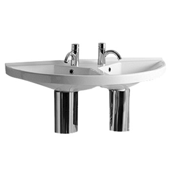 White Haus LU020 China Series large u-shaped wall mount double basin with chrome overflows
