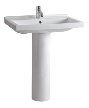 White Haus LU024-LU005-C-3-Hole China Series tubular pedestal with rectangular basin and chrome overflow