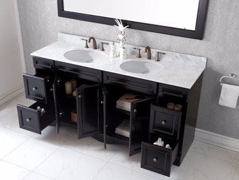 "Virtu USA Talisa 72"" Double Bathroom Vanity in Espresso with Marble Top and Round Sink with Mirror"