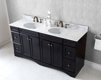 "Virtu USA Talisa 72"" Double Bathroom Vanity in Espresso with Marble Top and Round Sink"