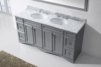 "Virtu USA Talisa 72"" Double Bathroom Vanity in Grey with Marble Top and Round Sink with Mirror"