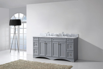 "Virtu USA Talisa 72"" Double Bathroom Vanity in Grey with Marble Top and Round Sink"