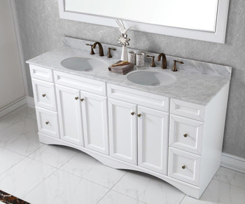 """Virtu USA - Avant Styles Talisa 72"""" Double Bathroom Vanity in White with Marble Top and Round Sink with Mirror"""