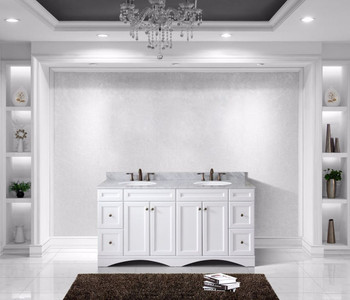 """Virtu USA - Avant Styles Talisa 72"""" Double Bathroom Vanity in White with Marble Top and Round Sink"""