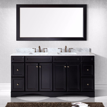 """Virtu USA - Avant Styles Talisa 72"""" Double Bathroom Vanity in Espresso with Marble Top and Square Sink with Mirror"""