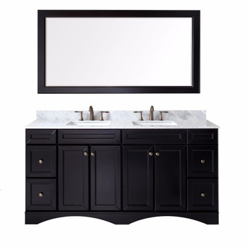 "Virtu USA Talisa 72"" Double Bathroom Vanity in Espresso with Marble Top and Square Sink with Mirror"
