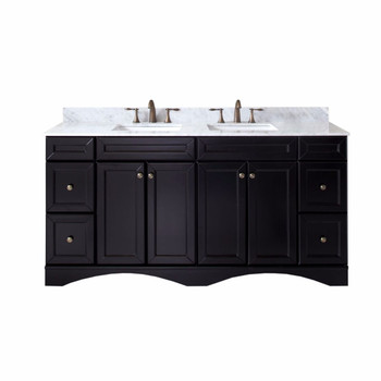 "Virtu USA Talisa 72"" Double Bathroom Vanity in Espresso with Marble Top and Square Sink"