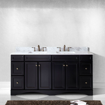 """Virtu USA - Avant Styles Talisa 72"""" Double Bathroom Vanity in Espresso with Marble Top and Square Sink"""