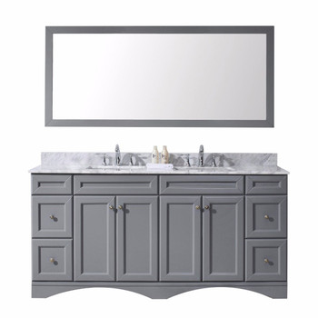 "Virtu USA Talisa 72"" Double Bathroom Vanity in Grey with Marble Top and Square Sink with Mirror"