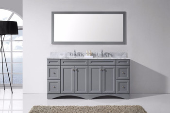 """Virtu USA - Avant Styles Talisa 72"""" Double Bathroom Vanity in Grey with Marble Top and Square Sink with Mirror"""