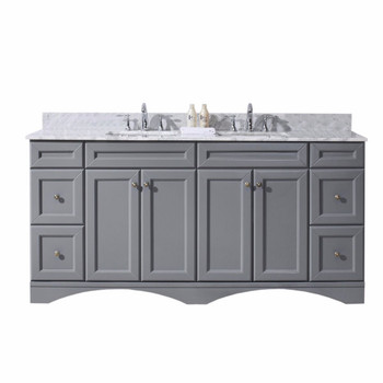 "Virtu USA Talisa 72"" Double Bathroom Vanity in Grey with Marble Top and Square Sink"