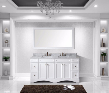 """Virtu USA - Avant Styles Talisa 72"""" Double Bathroom Vanity in White with Marble Top and Square Sink with Mirror"""
