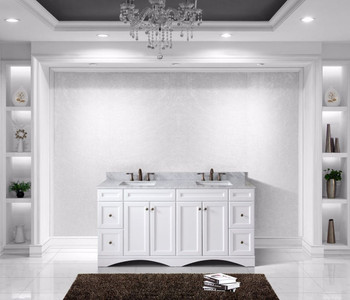 """Virtu USA - Avant Styles Talisa 72"""" Double Bathroom Vanity in White with Marble Top and Square Sink"""
