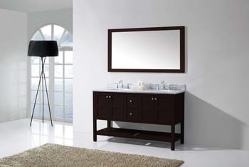 "Virtu USA Winterfell 60"" Double Bathroom Vanity in Espresso with Marble Top and Round Sink with Brushed Nickel Faucet and Mirror"