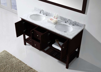"Virtu USA Winterfell 60"" Double Bathroom Vanity in Espresso with Marble Top and Round Sink with Polished Chrome Faucet and Mirror"
