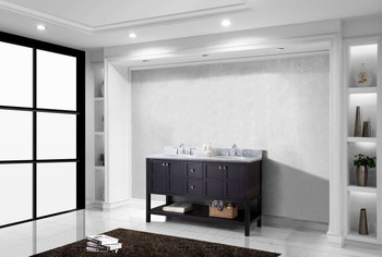 "Virtu USA Winterfell 60"" Double Bathroom Vanity in Espresso with Marble Top and Round Sink"