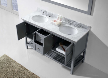 "Virtu USA - Avant Styles Winterfell 60"" Double Bathroom Vanity in Grey with Marble Top and Round Sink with Mirror"