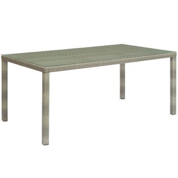 "Conduit 70"" Outdoor Patio Wicker Rattan Dining Table EEI-2808-LGR Light Gray"