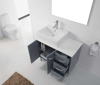 "Virtu USA-Tilda 36"" Single Bathroom Vanity in Grey with White Engineered Stone Top and Square Sink with Polished Chrome Faucet and Mirror"