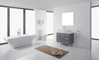 "Virtu USA-Tilda 36"" Single Bathroom Vanity in Grey with White Engineered Stone Top and Square Sink with Brushed Nickel Faucet and Mirror"