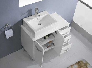 "Virtu USA-Tilda 36"" Single Bathroom Vanity in White with White Engineered Stone Top and Square Sink with Polished Chrome Faucet and Mirror"
